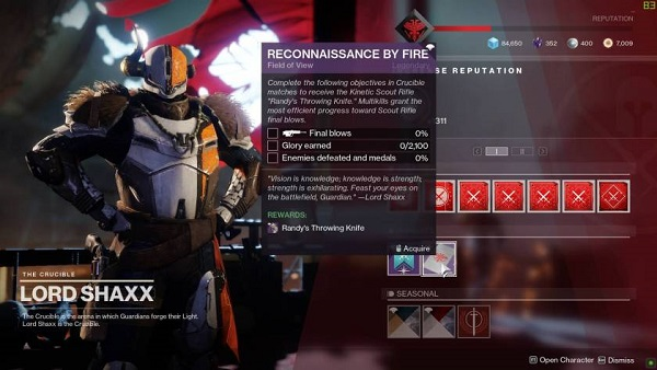 Destiny 2 Shadowkeep Randy's Throwing Knife Ritual Weapon Guide