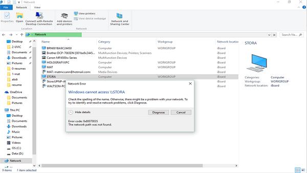 Windows Error Code: 0x80070035