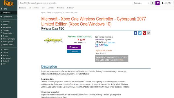 Cyberpunk 2077 Xbox controller