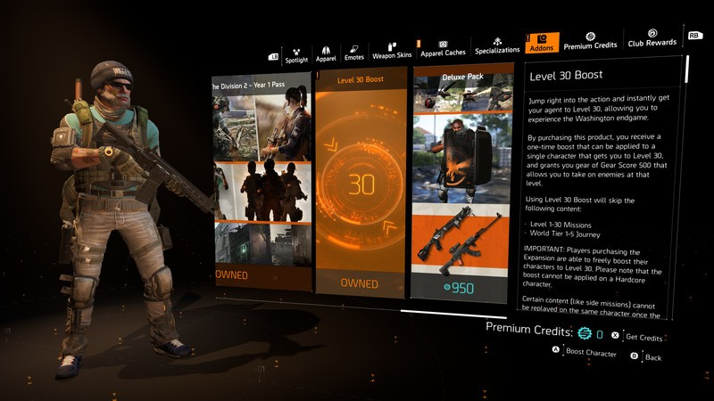 Division 2 Level 30 Boost