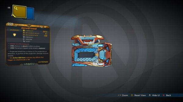Borderlands 3 Firewall Legendary Shield