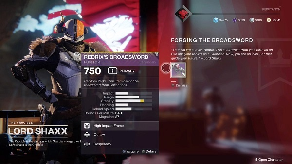 Destiny 2 Redrix's Broadsword Guide