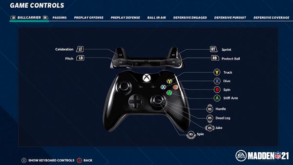 Madden NFL 21 Controls
