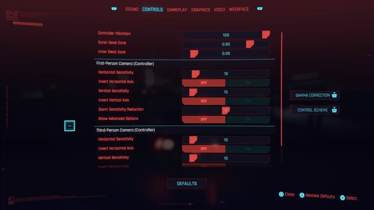 Cyberpunk 2077 PS4 Basic Controls 1