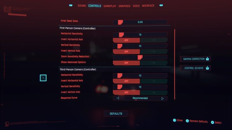 Cyberpunk 2077 PS4 Basic Controls 2