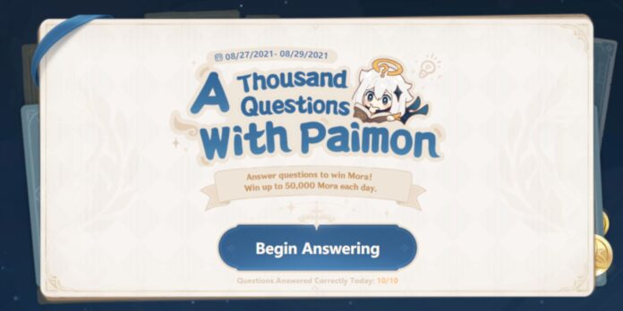 Genshin Impact Thousand Questions With Paimon